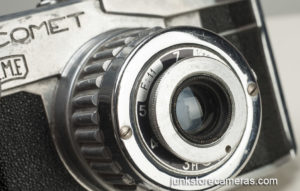 Front lens view of Bencini Comet Camera